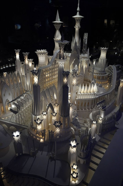 lighted paper sculpture castle