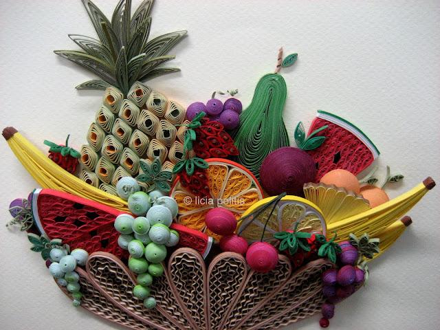 quilled fruit basket - detail