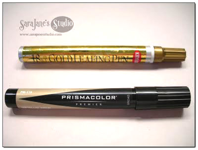 two gold leafing pens