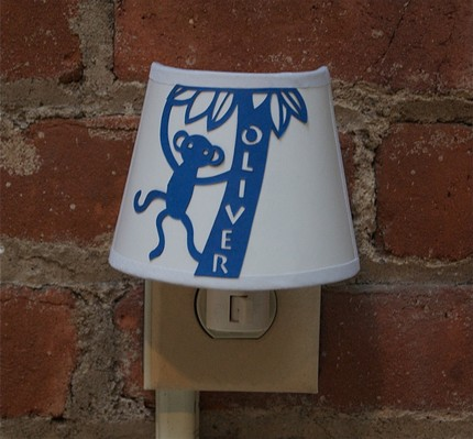 paper cut night light - personalized white shade with blue monkey