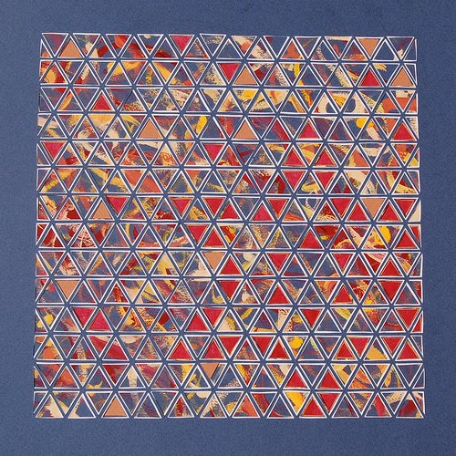 multi-colored fine triangles paper cutting