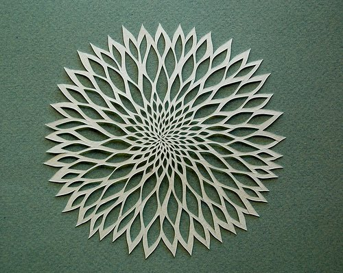 paper cut ivory flower on green background