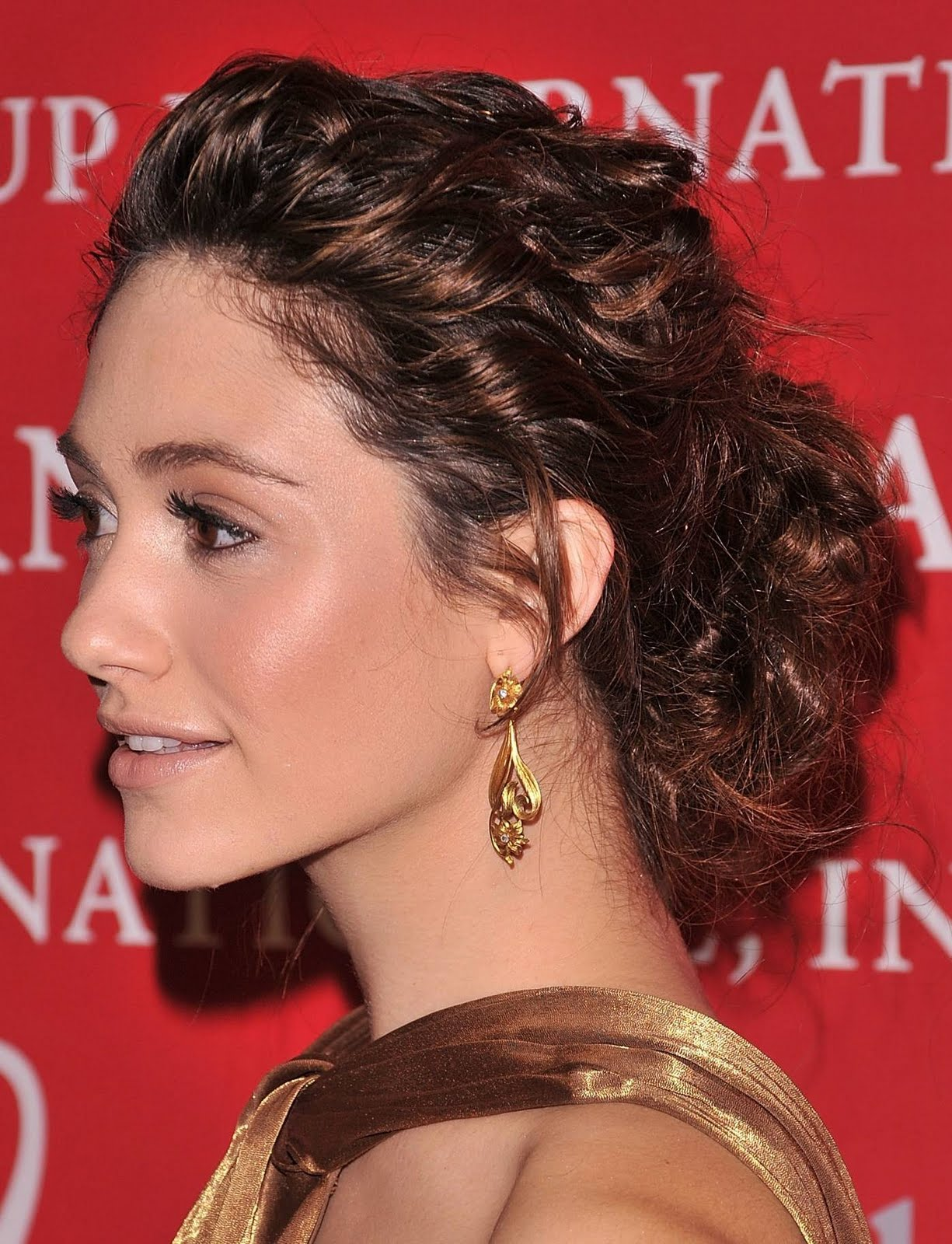 Emmy Rossum Casual Prom Updo Hairstyles