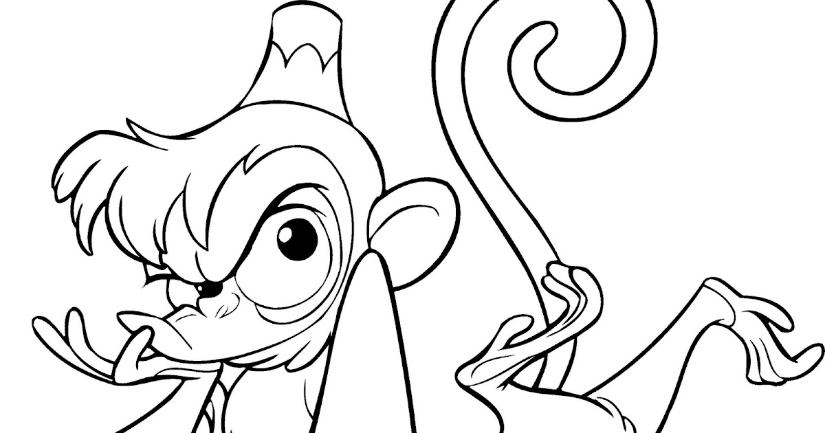 Disney Coloring Pages : Abu Monkeys are Thinking >> Disney