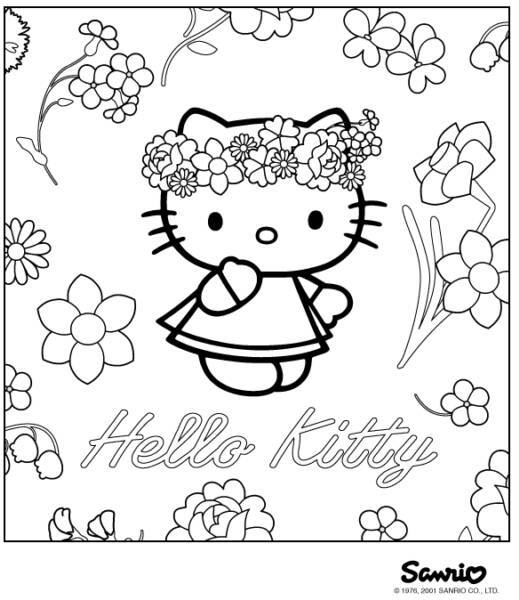 Sweet Hello Kitty with Flower Coloring Pages >> Disney ...