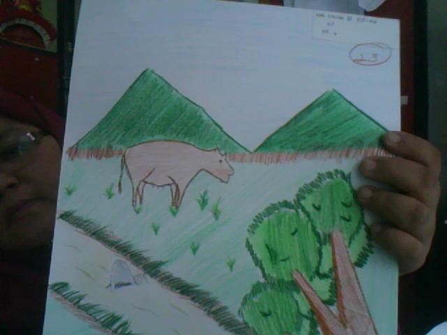 Lukisan Lembu Sedang Meragut Rumput Cikimm Com