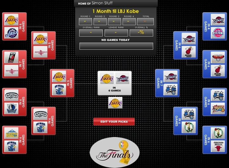 SimonOnSports: 2009 NBA Playoff Bracket Predictions