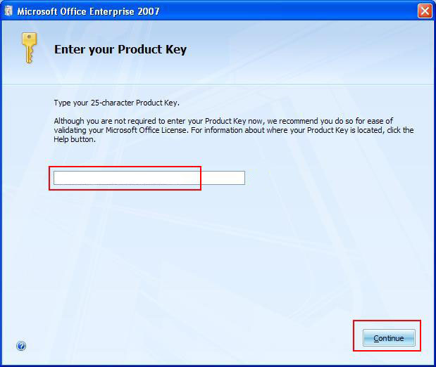 code d'installation Office 2007 pour le code de confirmation