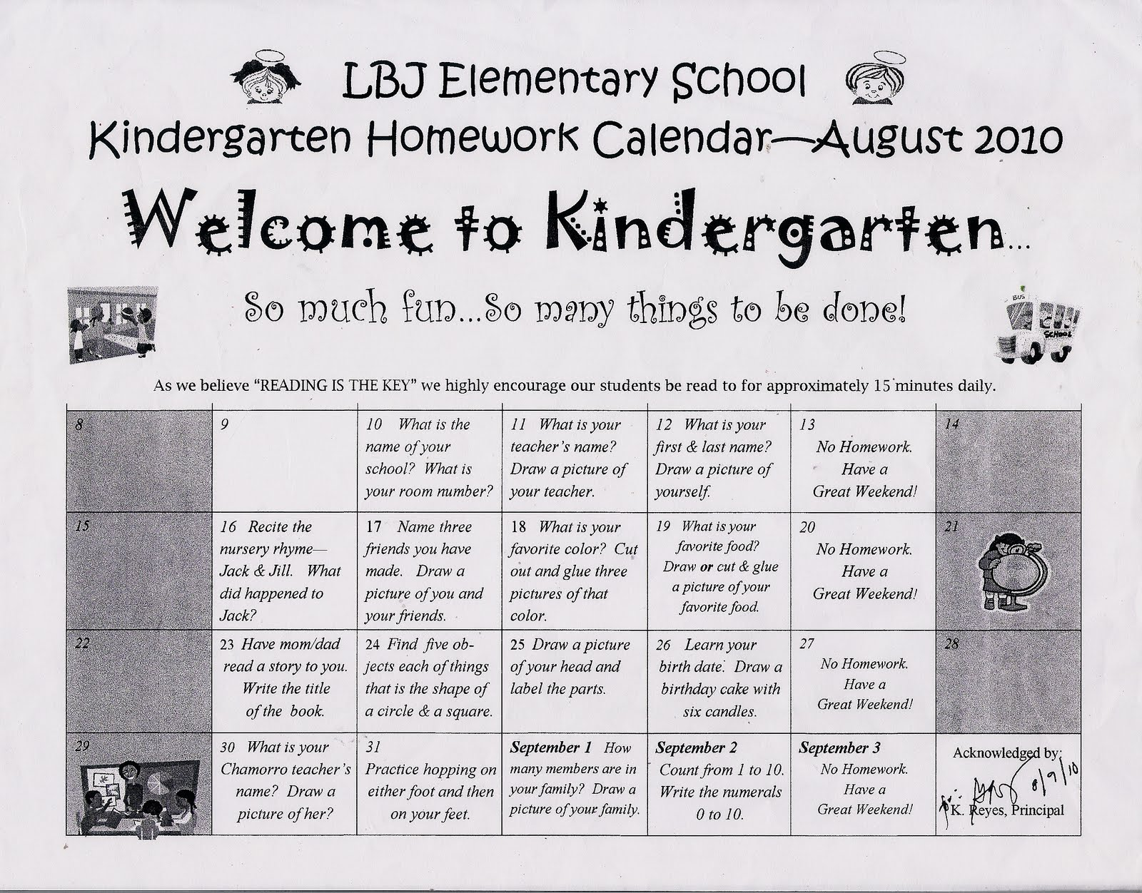 Kindergarten News At Lbj Kindergarten August Homework Calendar