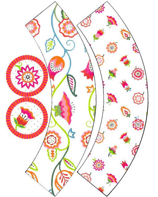 Toppers y Wrappers para Cupcakes para Imprimir Gratis de Flores