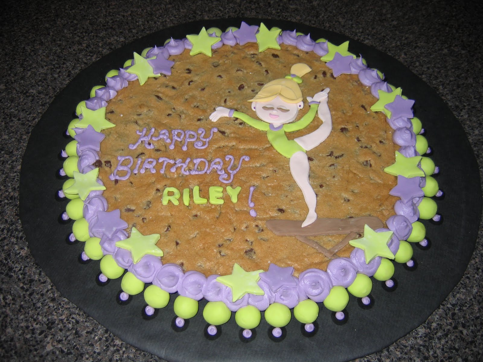 ... ..) DOES CAKE.: Giant Chocolate Chip Cookie Gymnast Birthday Cake