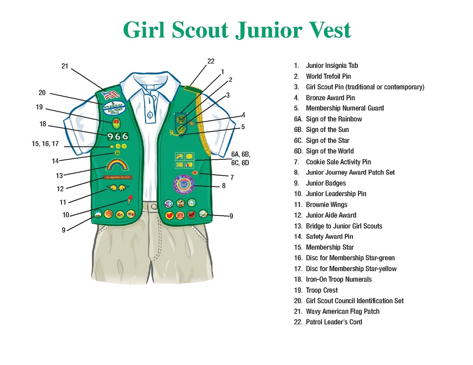 Girl Scout Troop Junior Sash And Vest