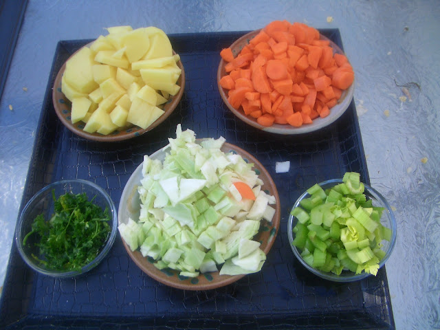 bowls of vegetables diced