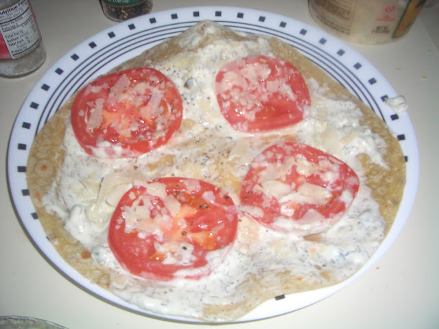 gluten free wrap with tomato and yogurt