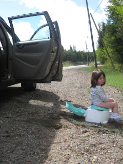 Peeing on the side of the road