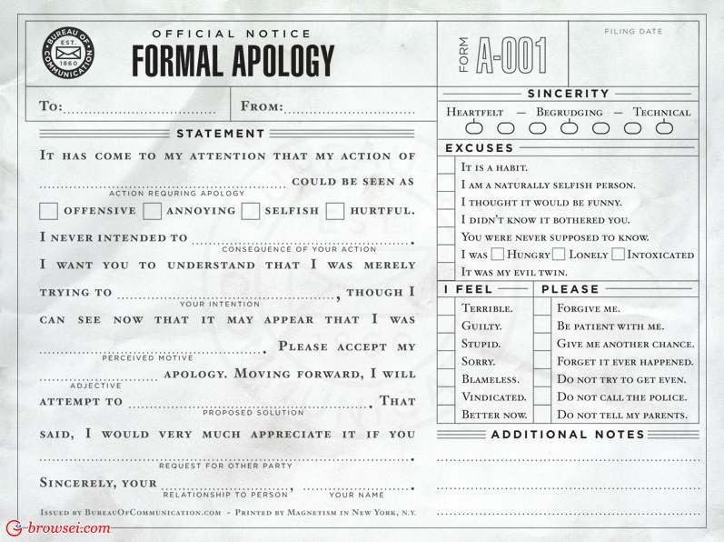 The Daily Item: Formal Apology Letter