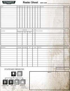Pit of the oni warhammer 40 000 roster sheet for Army battle roster template
