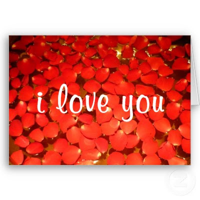 Valentine Rose Petals Greeting Cards