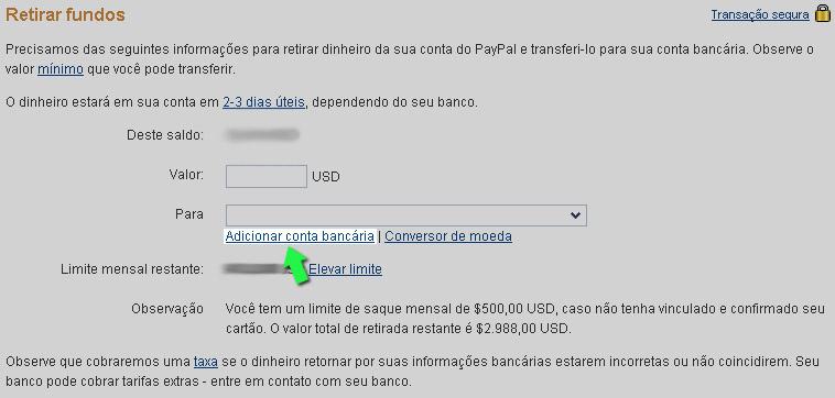 Como transferir dinheiro para paypal