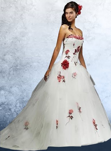 512417310 Vestidos de novia con flores rojas – Vestidos baratos