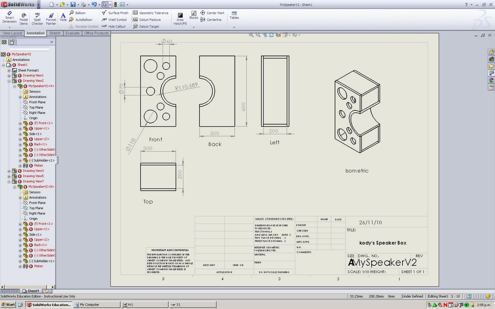 12pwk Speaker Design Solidworks Engineering Drawing