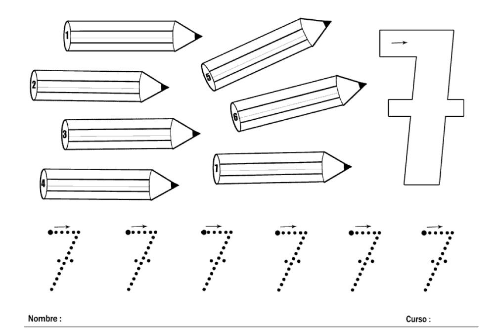 Dibujos Del Numero 7 Para Colorear: APRENDER LOS NÚMEROS: EL NÚMERO 7 Y LOS LÁPICES.