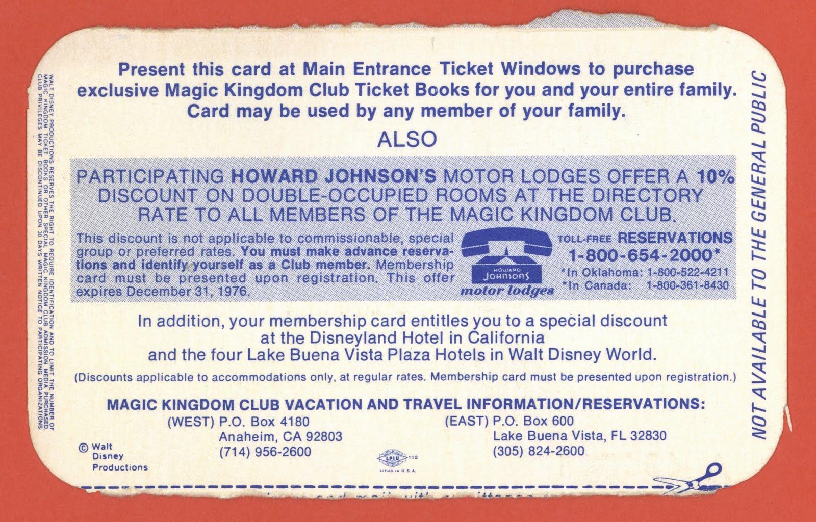 Magic Kingdom Club Membership Card   1976  Club Membership Card Template