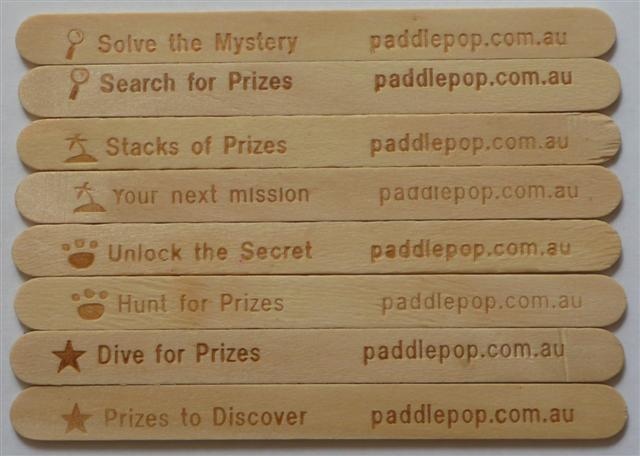 Paddle pop lick a prize