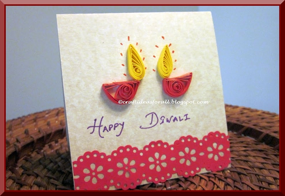 Nice Card Making Craft Ideas Part - 11: Happy Diwali Greeting Card