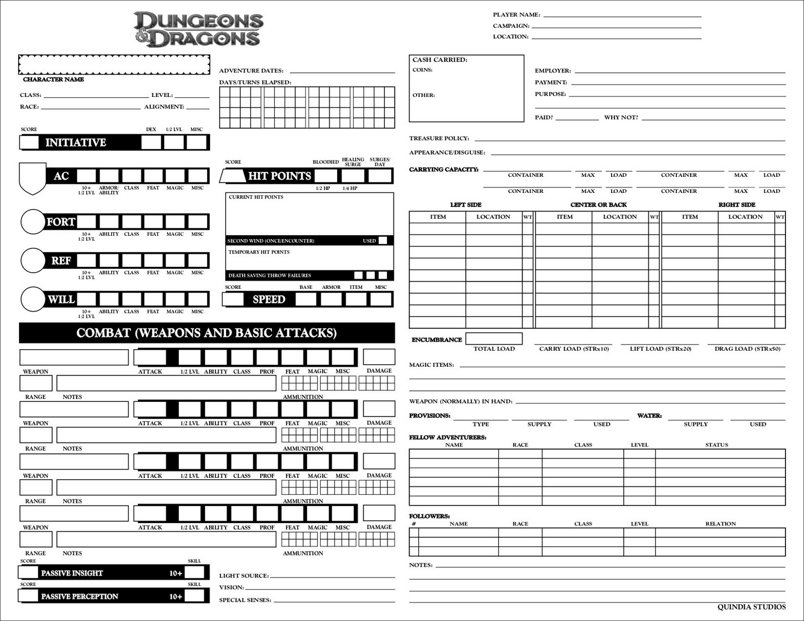 The Realm Of Quindia: Permanent Character Record Sheets