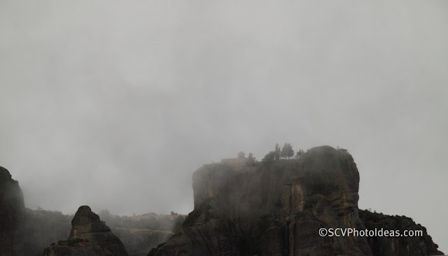 Meteora rocks in the clouds I