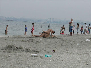 Beach couple caught having sex