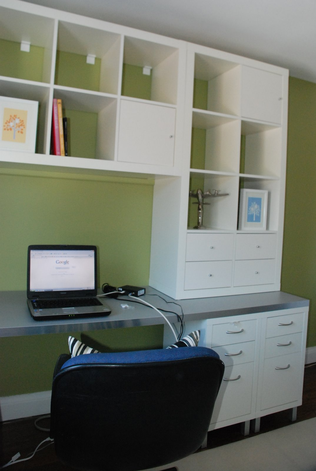 IKEA l shaped desk, ikea home office, office for two, ikea office hack, ikea expedit on walls