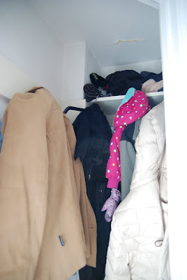 small coat closet organization, coat closet makeover, entryway closet makeover, small closet organization ideas