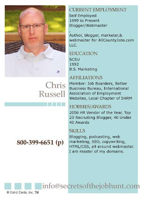 Secrets Of The Job Hunt Put Your Resume On A Baseball Card