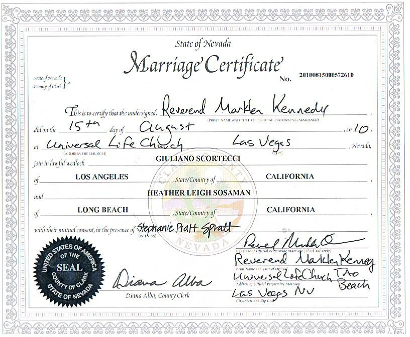 Las Vegas Marriage Certificate Image