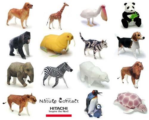 Animal Papercrafts Hitachi Nature Contact Paperkraft