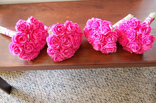 Hot Pink Roses Bridesmaids Bouquets For Kristy Handmade Paper