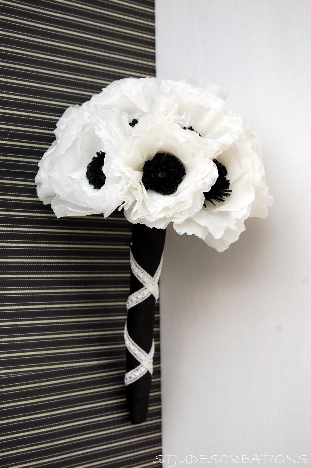 Black And White Wedding Anemone Wedding Order Handmade Paper