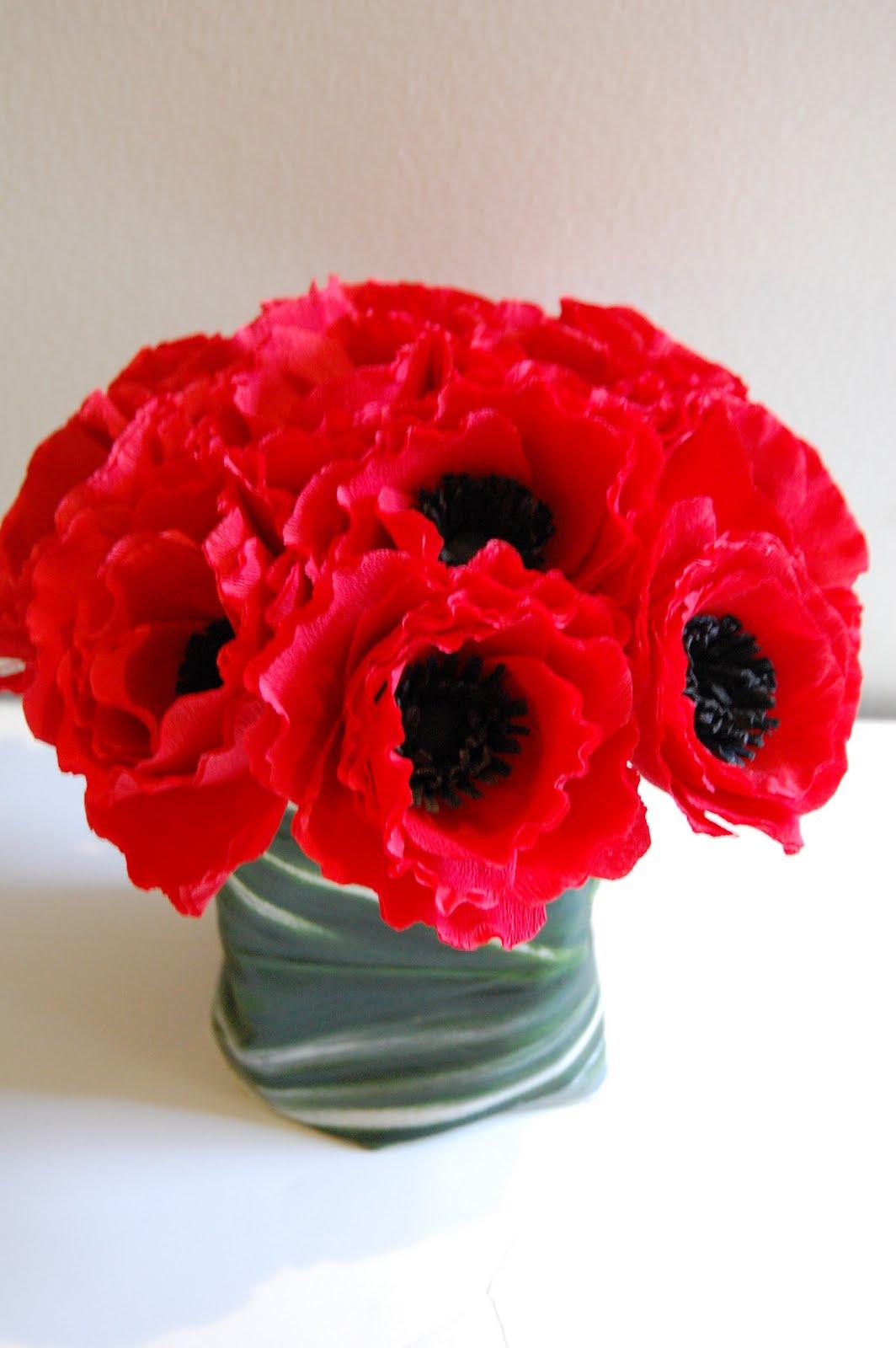 red anemone floral arrangement
