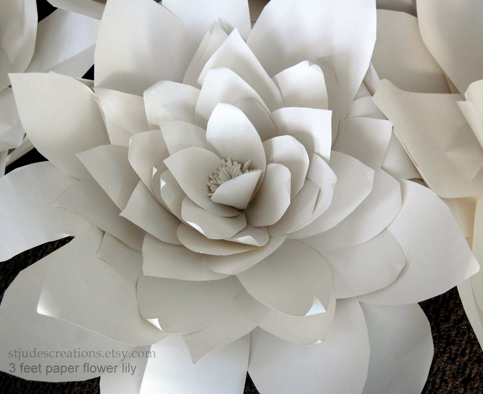 large chanel paper flower wall inspired wedding backdrop