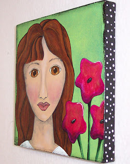 acrylic painting canvas girl face
