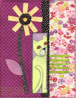 cat flower art quilt collage