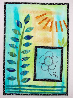 fabric fiber collage art quilt