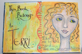 art journal page spread face girl