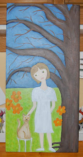 acrylic painting canvas face girl tree