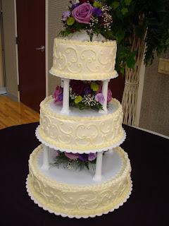 Sweetly Done 3 Tiered White Scroll Wedding Cake