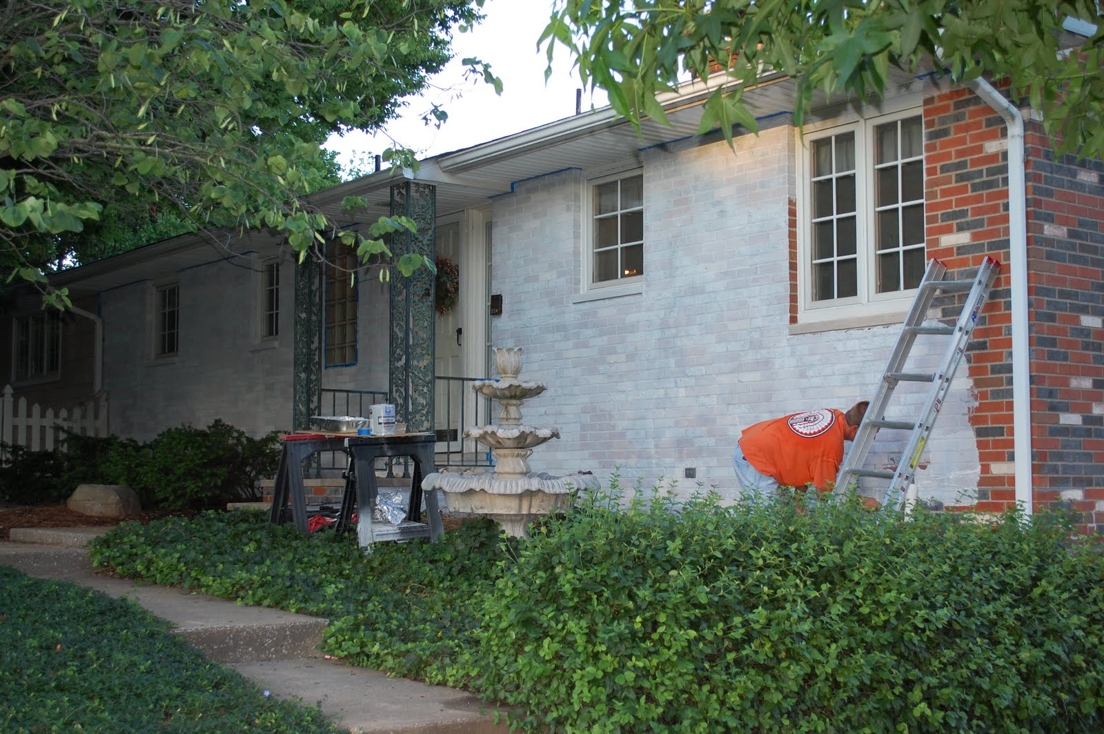 House Exterior: Exterior Makeover: Painting The Brick-Day 1