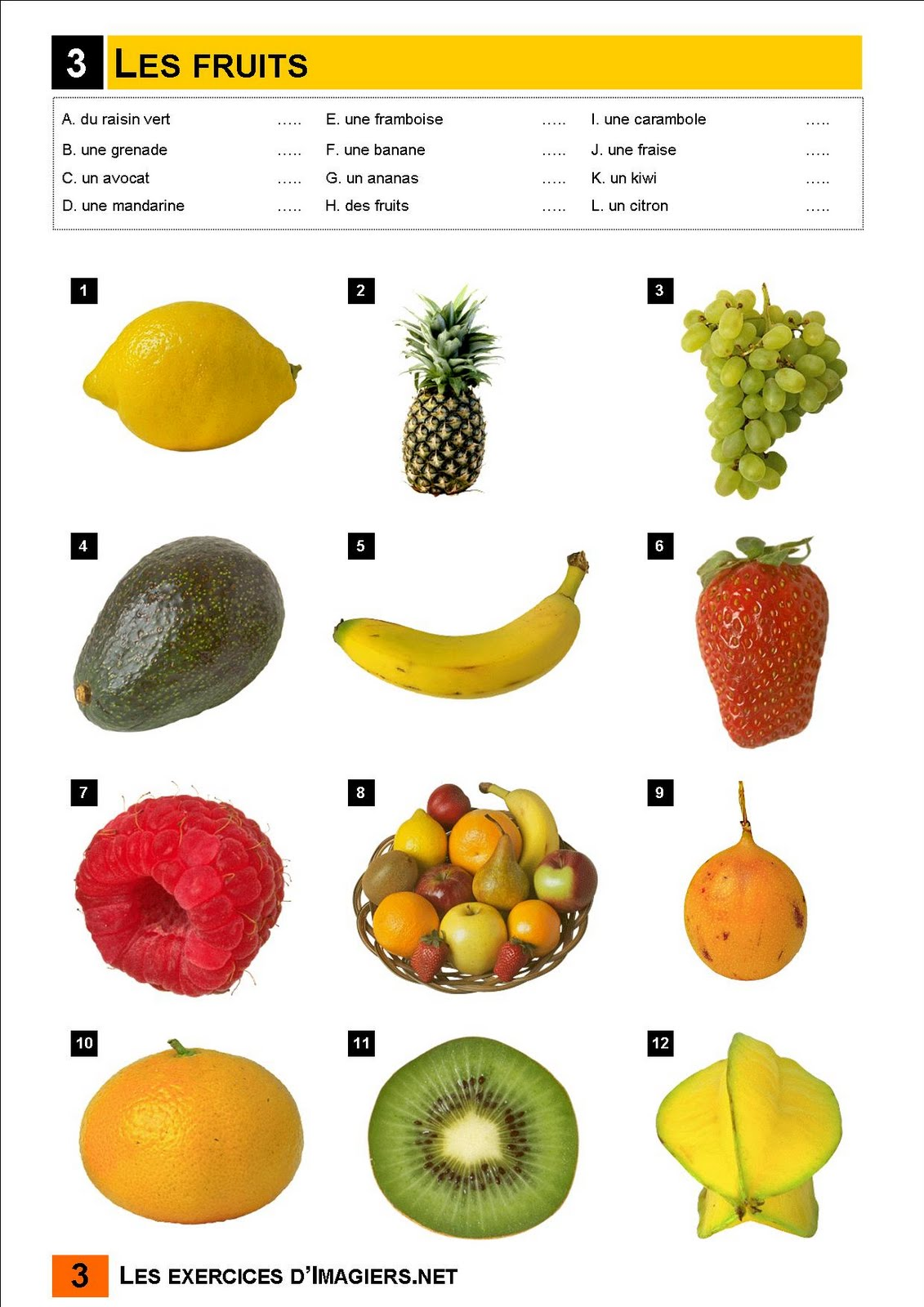 A Table Exercice Les Fruits 1