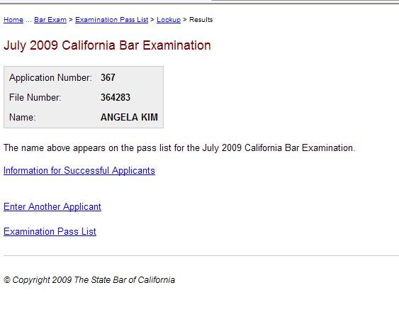 Ohh Angela!: The California Bar Exam Results
